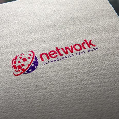 network logo business card mockup