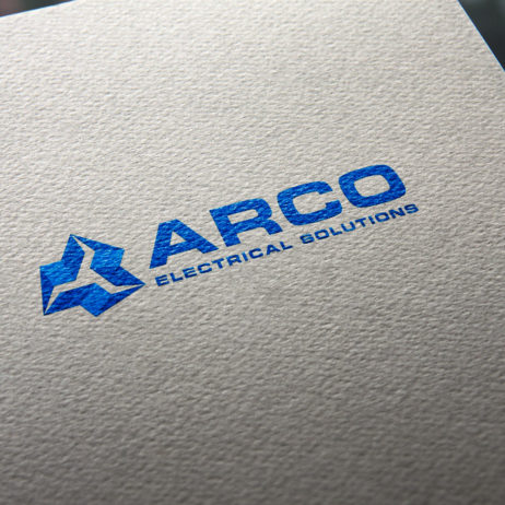arco electrical solutions logo business card mock-up