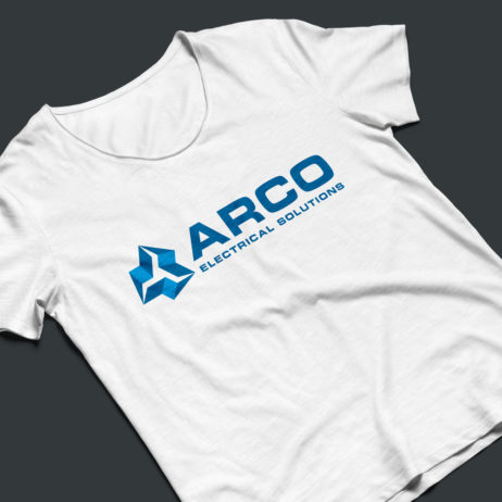 arco electrical solutions logo t-shirt mock-up