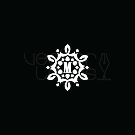 vintage monogram letter m design white