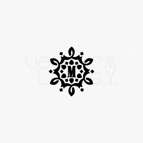 vintage monogram letter m design black