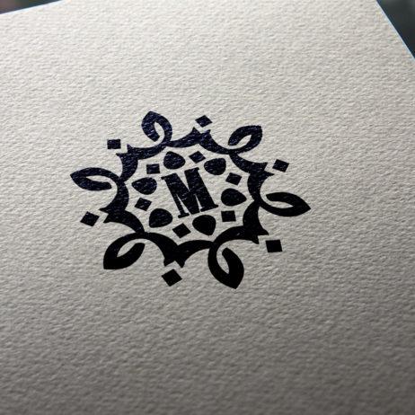 vintage monogram letter m design business cards mock-up
