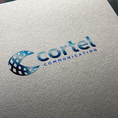 cortel communication logo business card mock-up