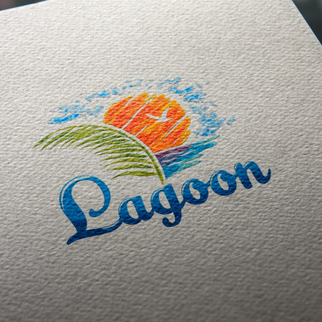lagoon travel logo business card mock-up