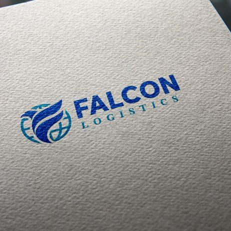 falcon logistics logo business card mock-up