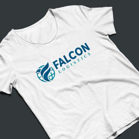 falcon logistics logo t-shirt mock-up