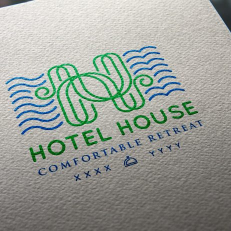 hotel house logo business card mock-up