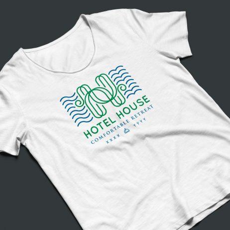 hotel house logo t-shirt mock-up