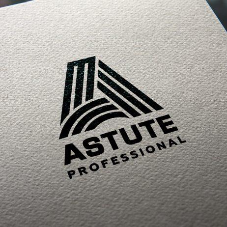 Astute Professional logo business card mock-up