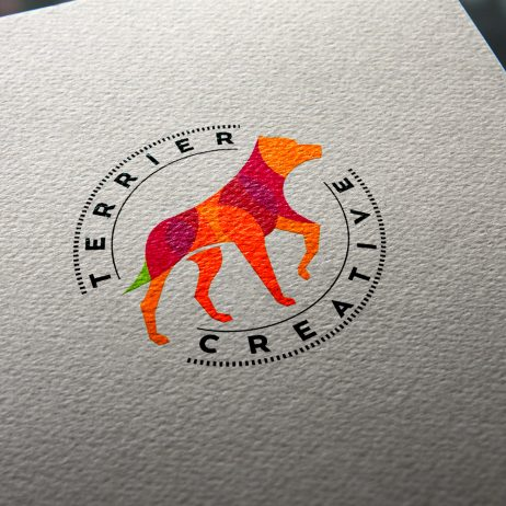 terrier creative logo business card mock-up