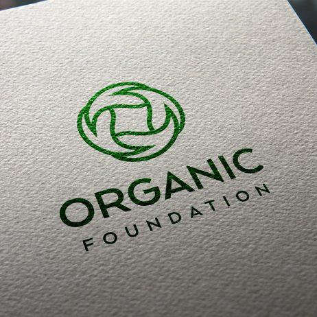 organic foundation logo business card mock-up