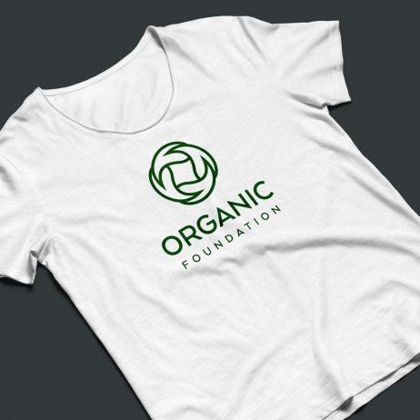 organic foundation logo t-shirt mock-up