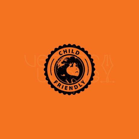 child friendly logo orange bg