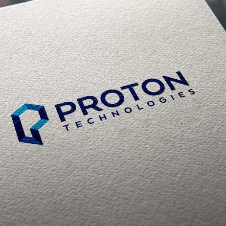 proton technologies logo business card mock-up