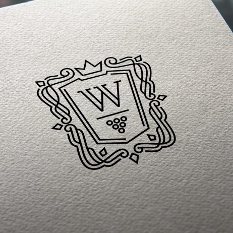wine coat of arms logo business card mock-up