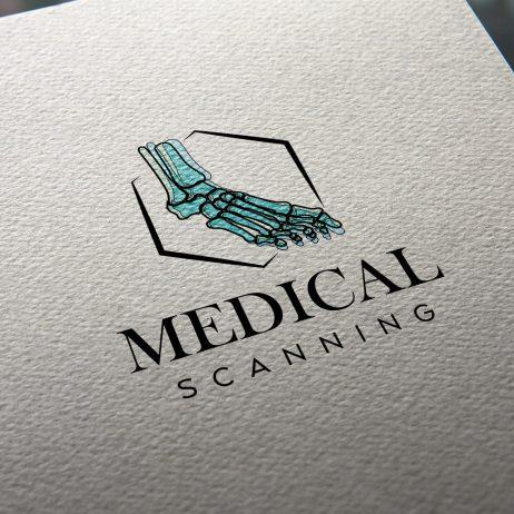 medical scanning logo business card mock-up