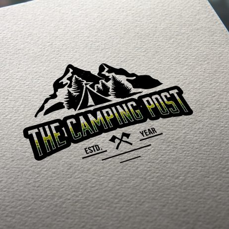 camping post logo business card mock-up